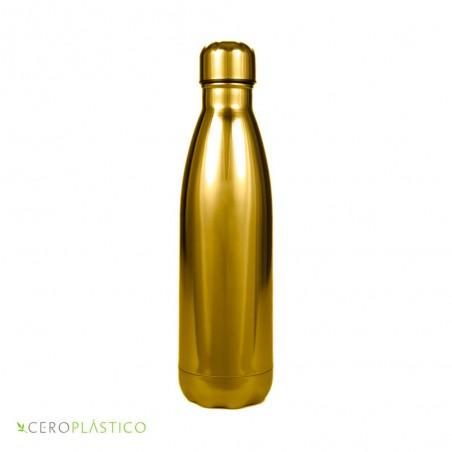 Botella térmica dorada acero inoxidable 500 ml Cero Plástico