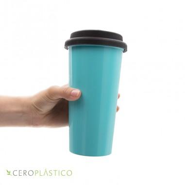 Vaso térmico con tapa silicón 500 ml. Cero Plástico