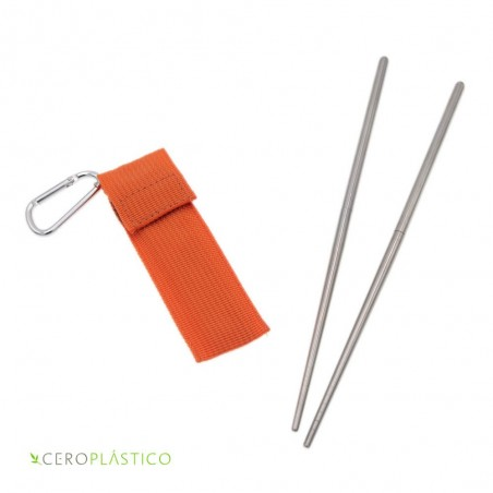 Palillos chinos portátiles acero inoxidable Cero Plástico