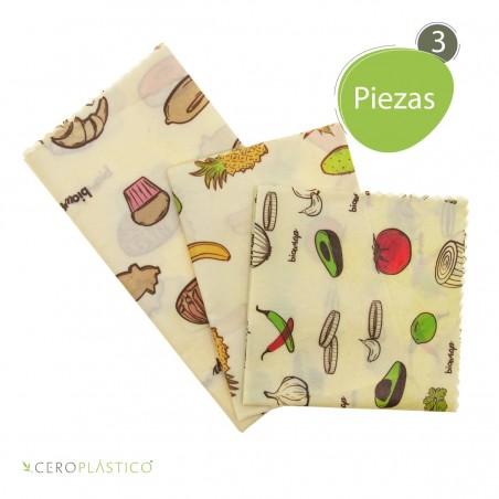3 pack Biowraps Mixtos Cero Plástico