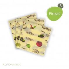 3 pack Biowraps Chicos 21x21 cm. Cero Plástico