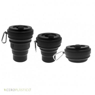 Vaso plegable 550 ml Negro Cero Plástico