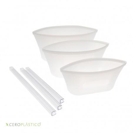 Set de bolsas para snacks tipo bowl Cero Plástico