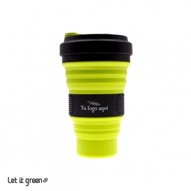 50 Vasos plegables negros 550 ml personalizados Cero Plástico