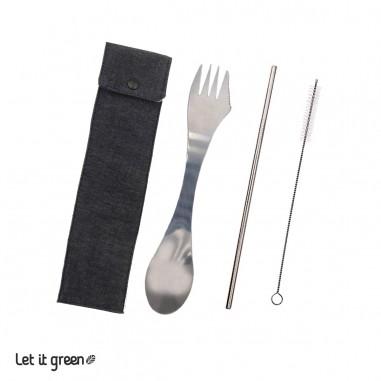 Kit cubierto 3en1 y popote acero inoxidable Cero Plástico