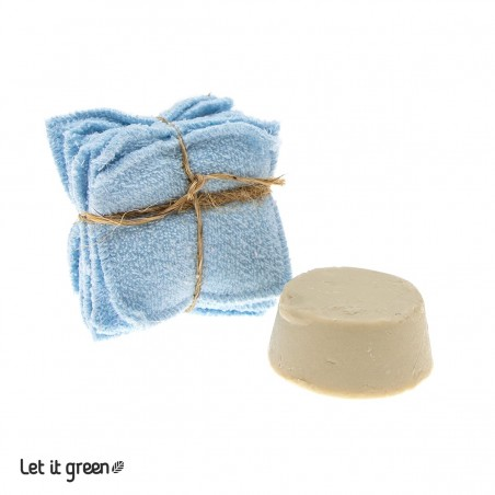 Kit desmaquillante sólido azul Cero Plástico