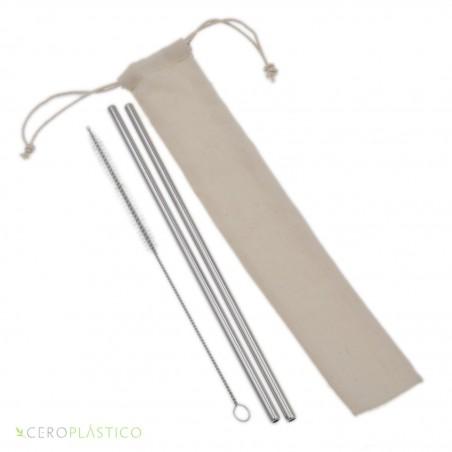 2 pack popotes de acero y cepillo Cero Plástico