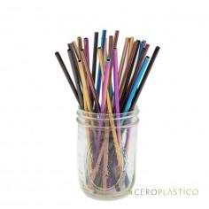 Popote multicolor acero inoxidable recto Cero Plástico