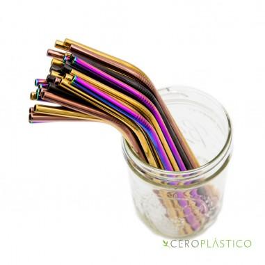 Popote multicolor acero inoxidable curvo Cero Plástico