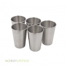 Set de 5 vasos de acero inoxidable de 500 ml. Cero Plástico