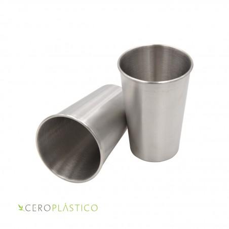 Set de 5 vasos de acero inoxidable de 500 ml. Cero Plástico